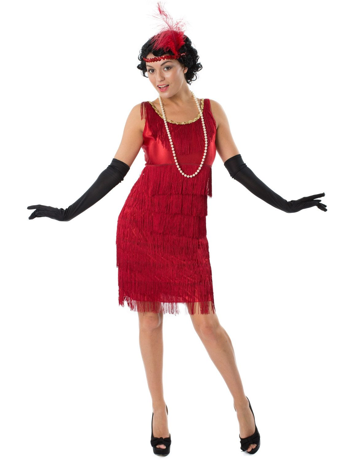 Adult Red Flapper Costume Long Ladies 1920s Gatsby Fancy Dress Outfit New