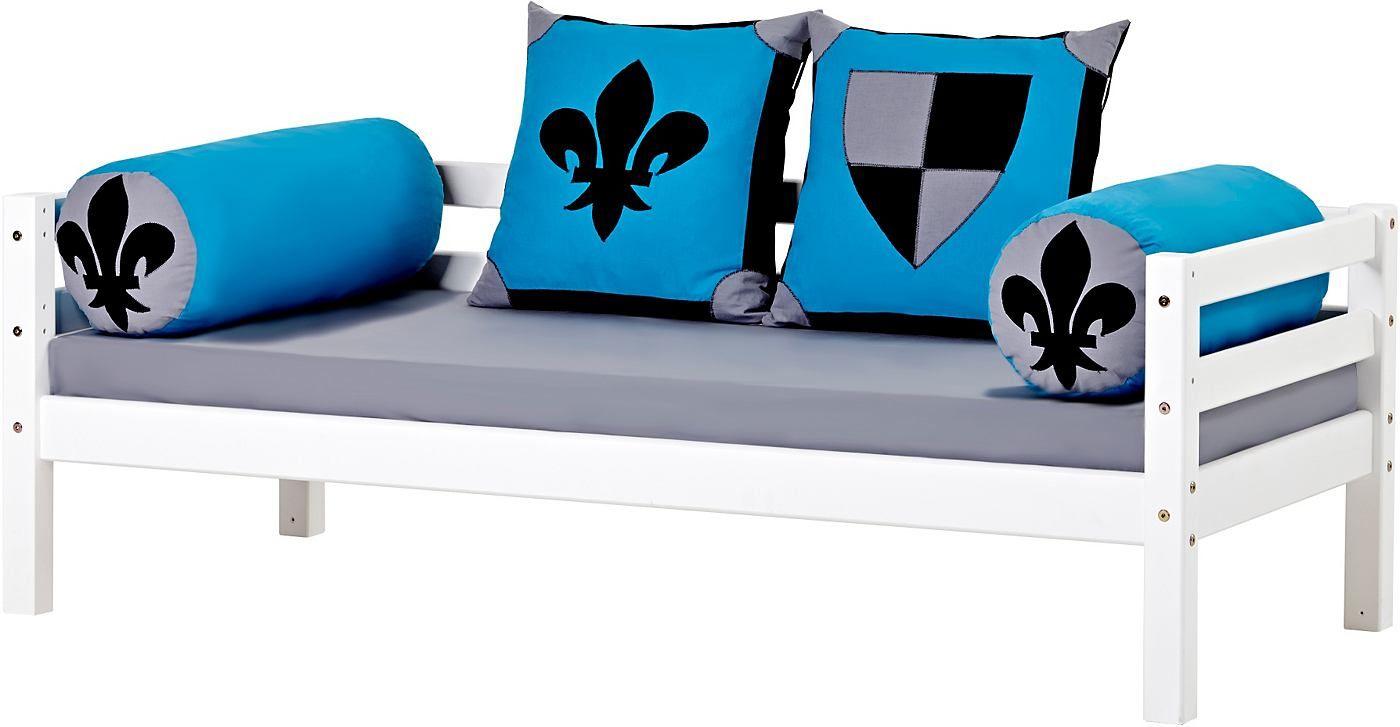 Sofabett-Set: inkl. Matratzen und Rollrost. aus FSC®-zertifizierter massiver Kiefer, weiß lackiert.  Matratzenbezug 100% Baumwolle.  Pfostenstärke 52 mm, Materialstärke 25 mm. Liegefläche 70/160 cm oder 90/200 cm. Weiß.  Maße (B/T/H): 168/78/56 bzw. 208/98/56 cm.  Ohne Kissen und Schubkästen. Alles Ca. Maße. Mit Aufbauanleitung....