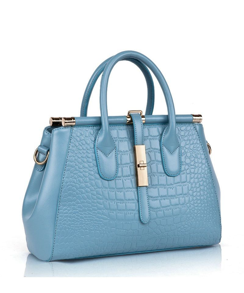Sac à main en cuir GENUINE LEATHER cuir verni bleu xgWYT7W