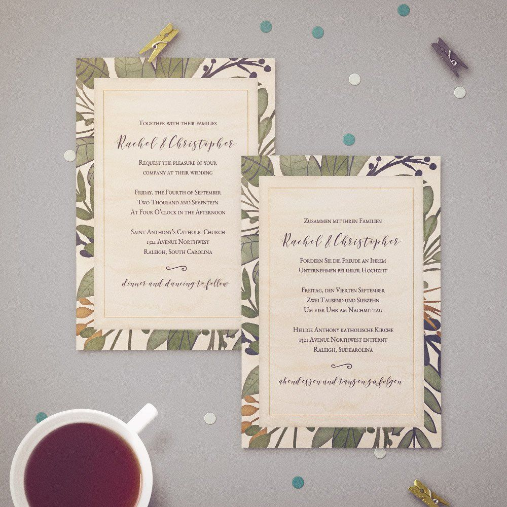 Two Language Bilingual Wedding Invitation Rustic Watercolor