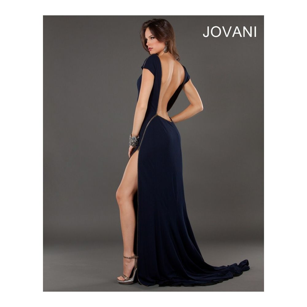 Jovani 73150 Backless Long Jersey Evening Dress with Zip Detail Split in  Navy Evening Dresses (Special Order) Blue @ Pears Boutique