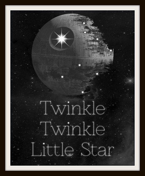 Twinkle Twinkle Little Death Star Typography Nursery Art