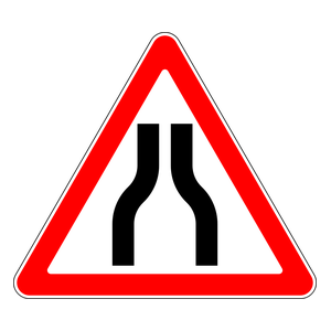 Warning For Road Narrowing Traffic Signs Road Signs Traffic