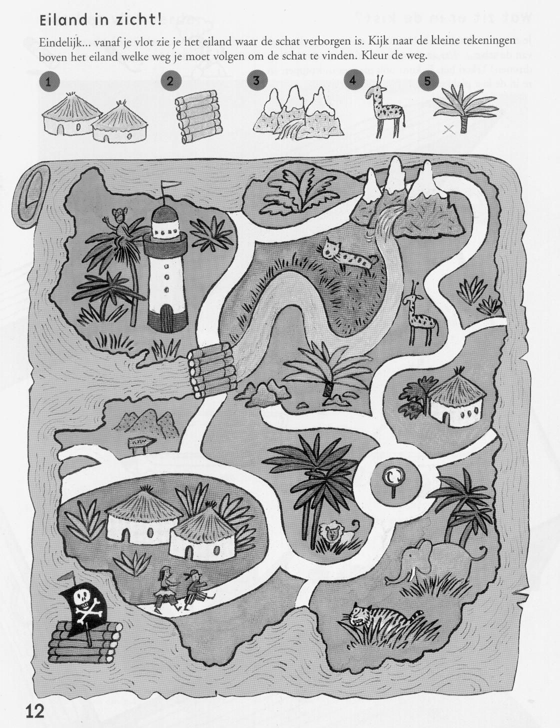 Goede Waar ligt de schat? Eiland in zicht (werkblad) free printable SJ-84