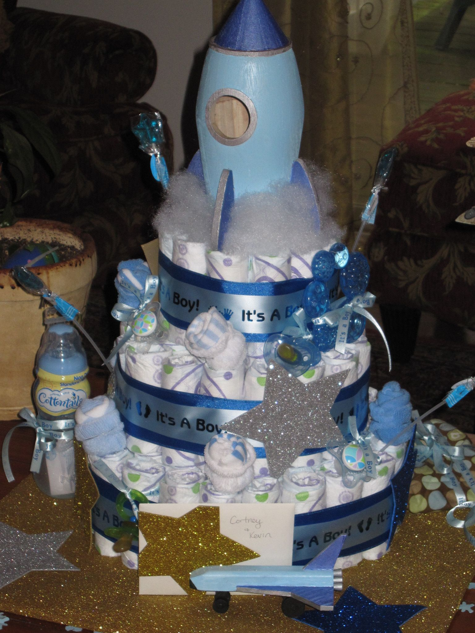 Space Themed Diaper Cake