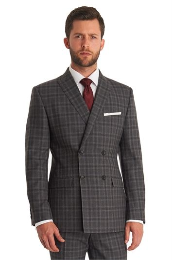 a95ce5f6e Moss 1851 Tailored Fit Grey Check Double Breasted Mix and Match Suit ...