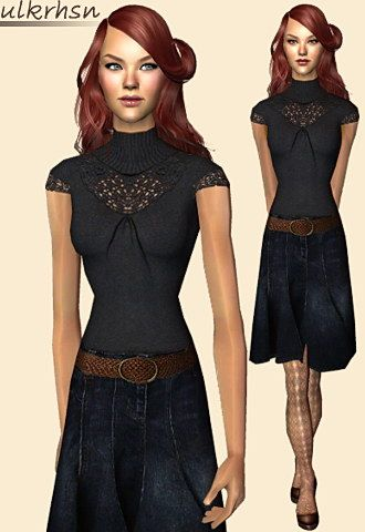 Embroidered black blouse with a belted knee denim skirt and brown high heels shoes.