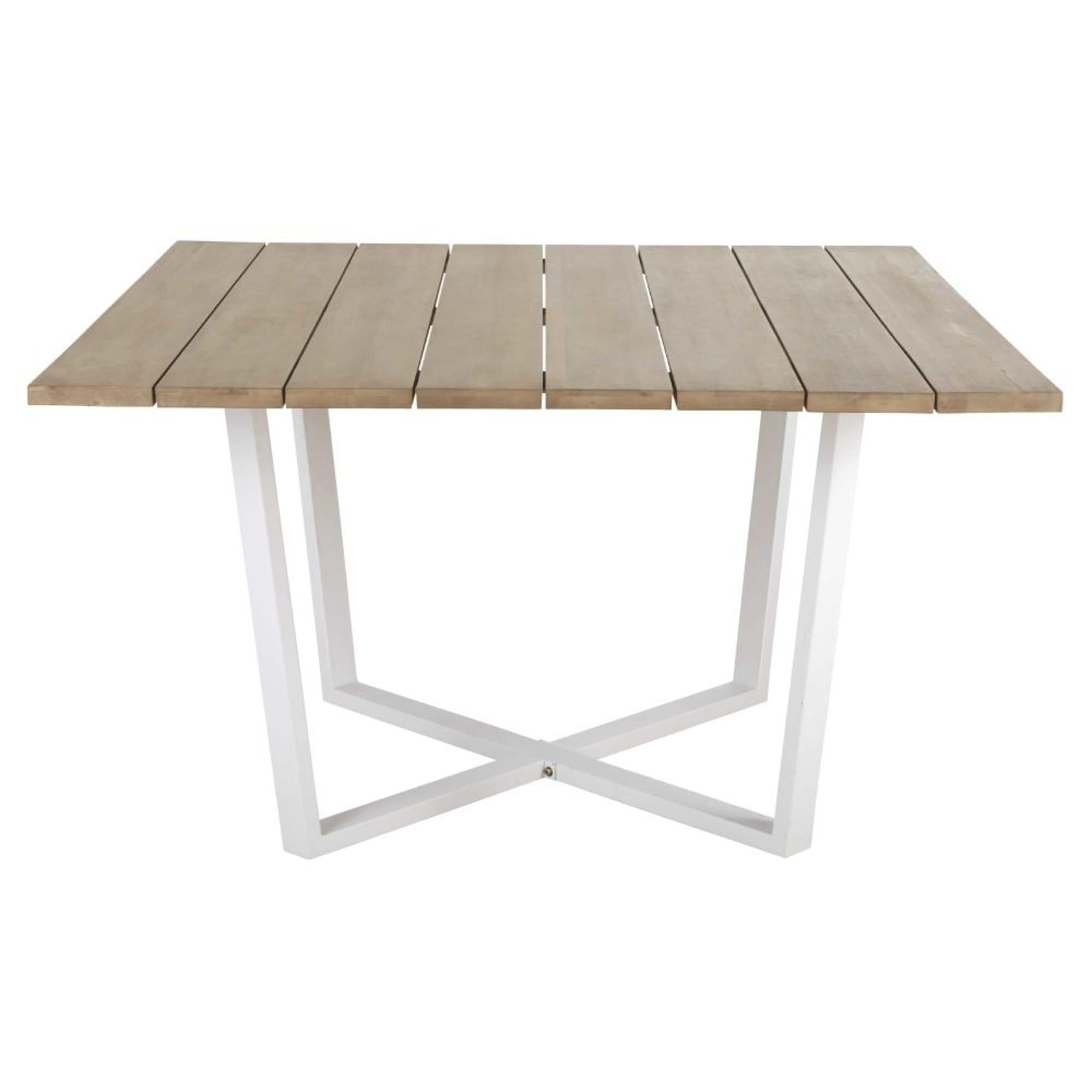Quadratischer Gartentisch Aus Massivem Akazienholz Und Weissem
