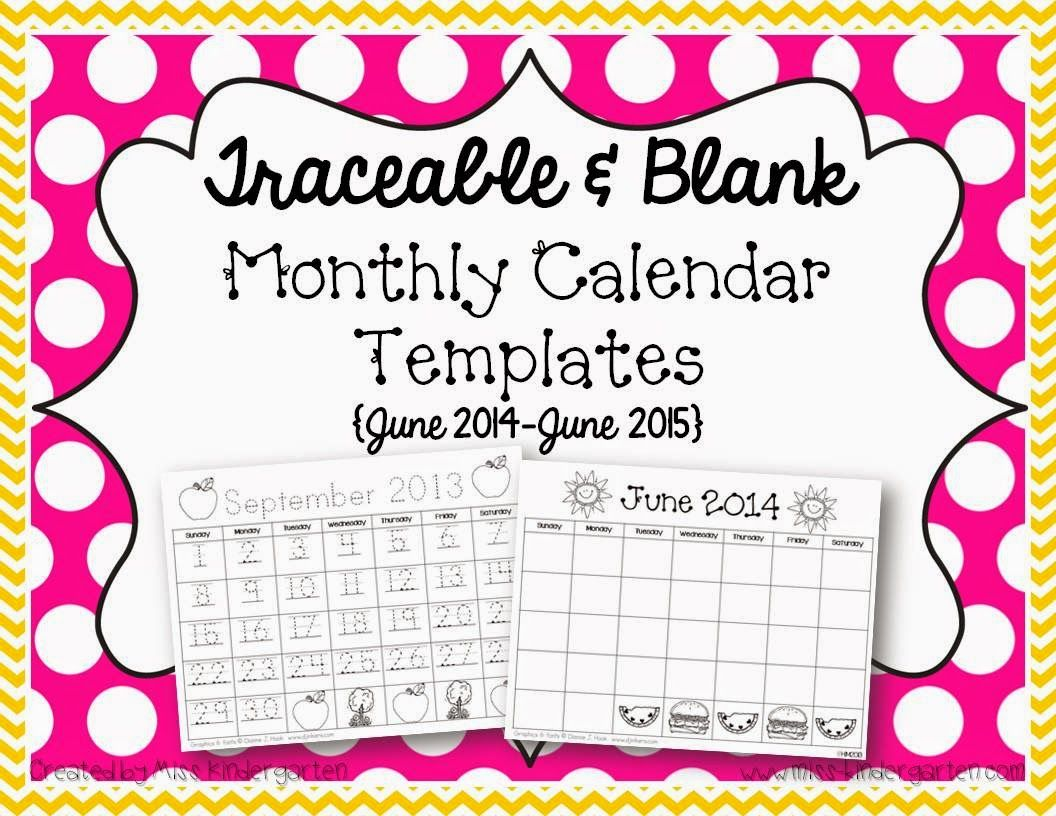 June Calendar Numbers For Preschool : Miss kindergarten traceable monthly calendar templates