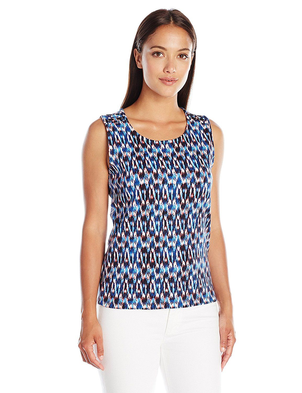 73e5333777d04 Rafaella Women s Petite Americana Ikat Print Sleeveless Top with Grommets     Startling review available here