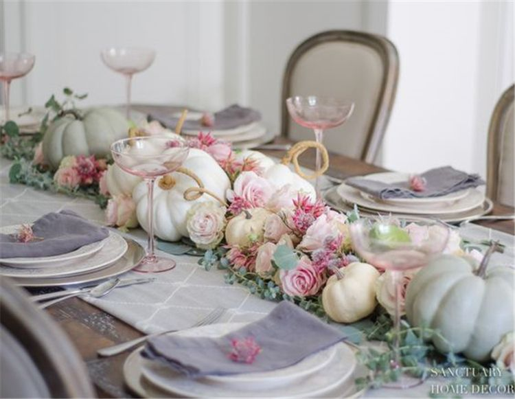 Pink Table Seating Sets Ideas Simple Thanksgiving Table Fall Table Settings Thanksgiving Table Decorations