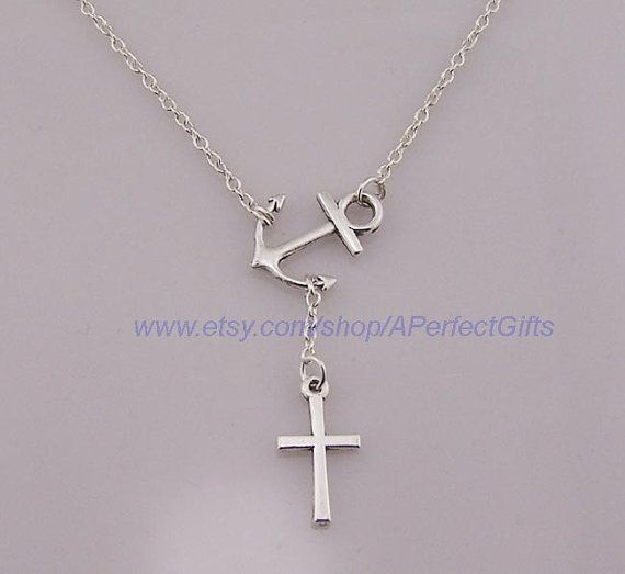 Ancient silver anchor necklace sideways cross necklace christian ancient silver anchor necklace sideways cross necklace christian silver cross pendant easter gods blessing nautical gifts negle Images