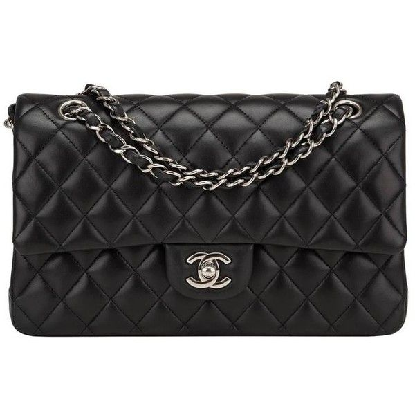 ee6a6e2bc49c Preowned Chanel Black Quilted Lambskin Medium Classic Double Flap Bag  ($4,825) ❤ liked on Polyvore featuring bags, handbags, black, lamb leather  handbags, ...