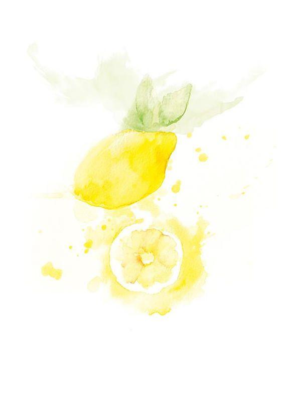 Mediterranen Küche print kitchen print lemon food print watercolour olive