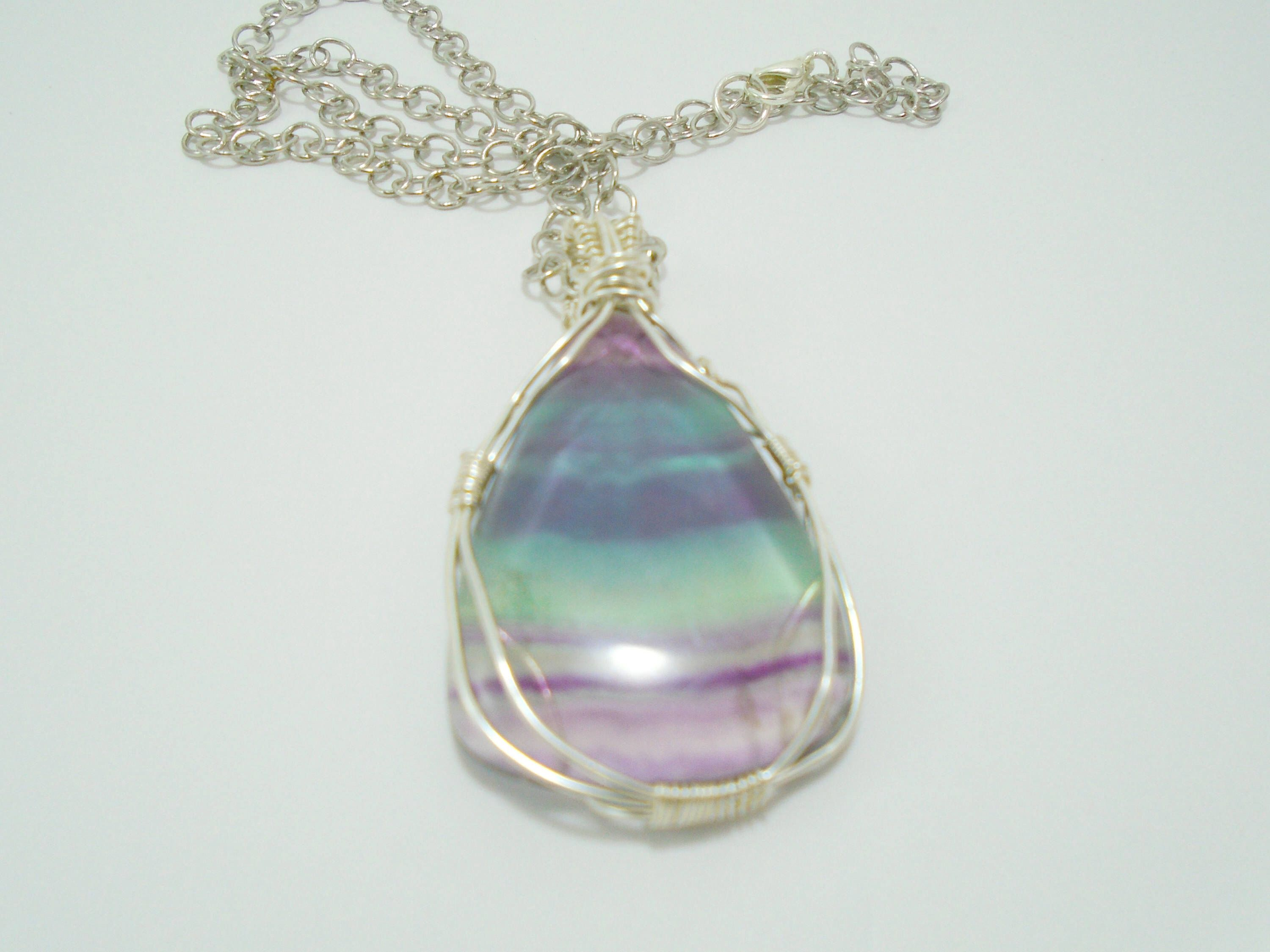 crystal pendant necklaces fluorite l rainbow point gemstone uk