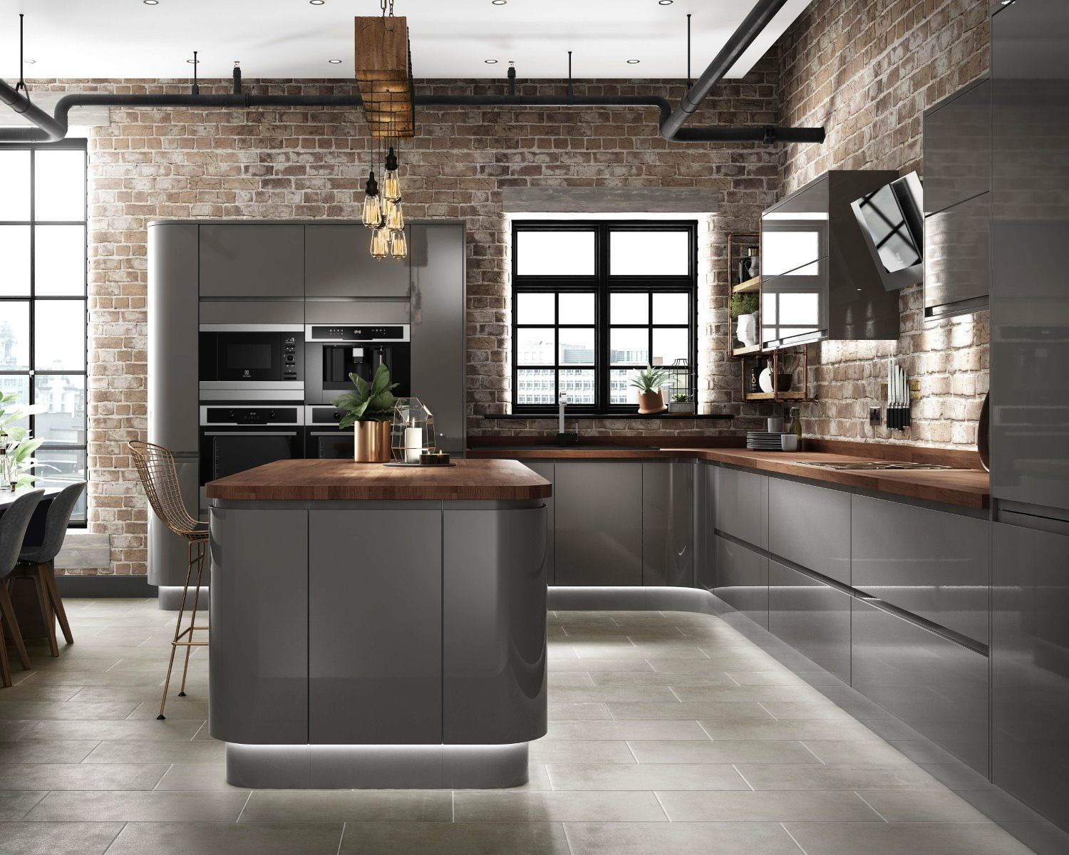 cg grey gloss kitchen industrial design concealed lighting concrete exposed brick industrial on kitchen ideas gray id=68865