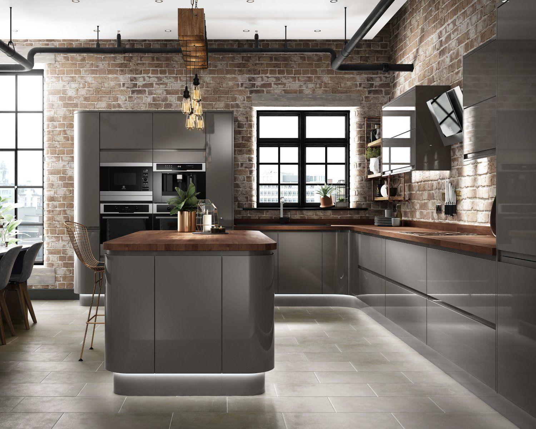 CG grey gloss kitchen industrial design concealed lighting