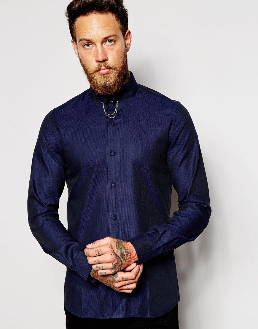 Shirt by Noose & Monkey Textured, woven cotton Fastened collar Detachable  collar bar Button placket Skinny fit - cut closely to the body Machine wash  Cotton ...