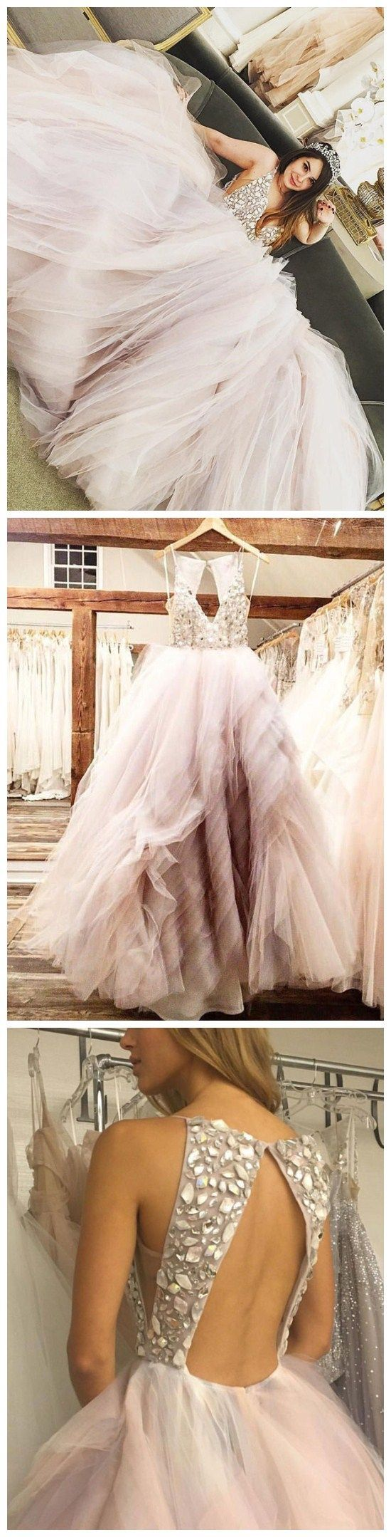 Wedding dresses with rhinestones  Shining Tulle Spaghetti Straps Neckline Ball Gown Wedding Dresses