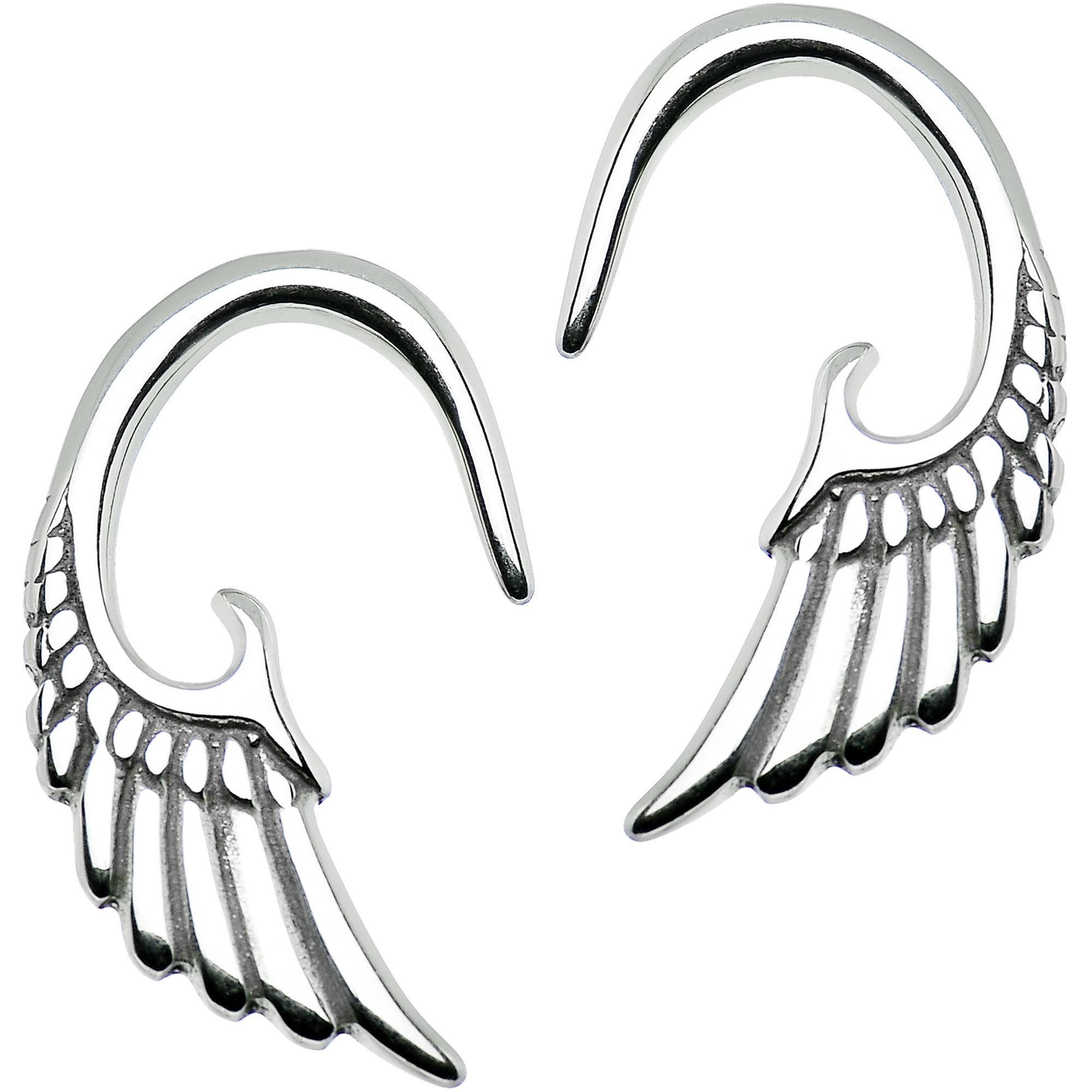 10 Gauge Stainless Steel Angel Wing Curved Taper Set Ear Gauges Ear Tapers Wings Design