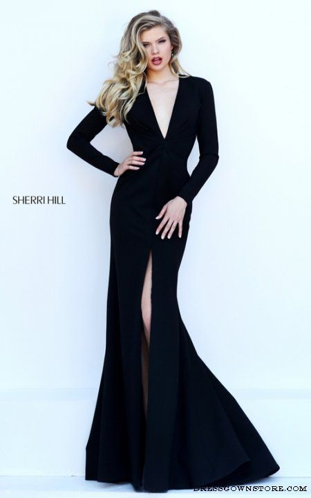 9d92994aee Sexy Sherri Hill 50309 Black Fitted Prom Dress Long Sleeve