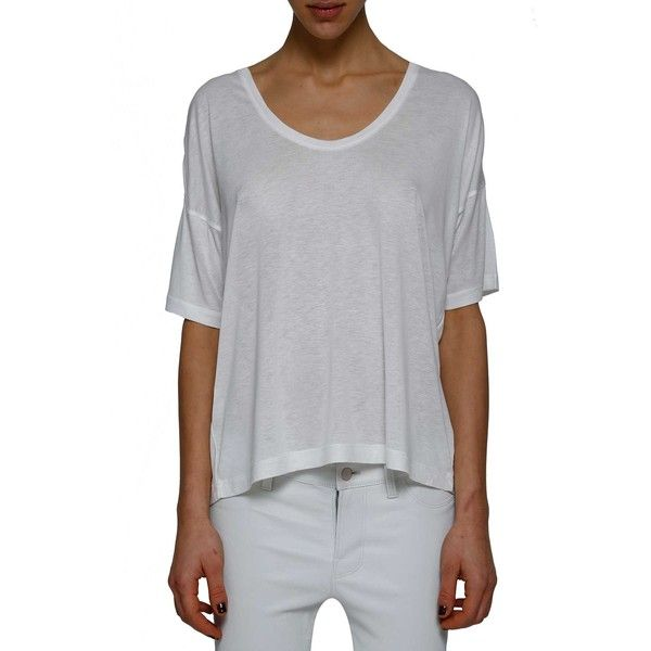 T by ALEXANDER WANG Basic round neck t-shirt ($80) ❤ liked on Polyvore featuring tops, t-shirts, white scoop neck t shirt, white short sleeve t shirt, short sleeve t shirts, round neck tees and round neck t shirt