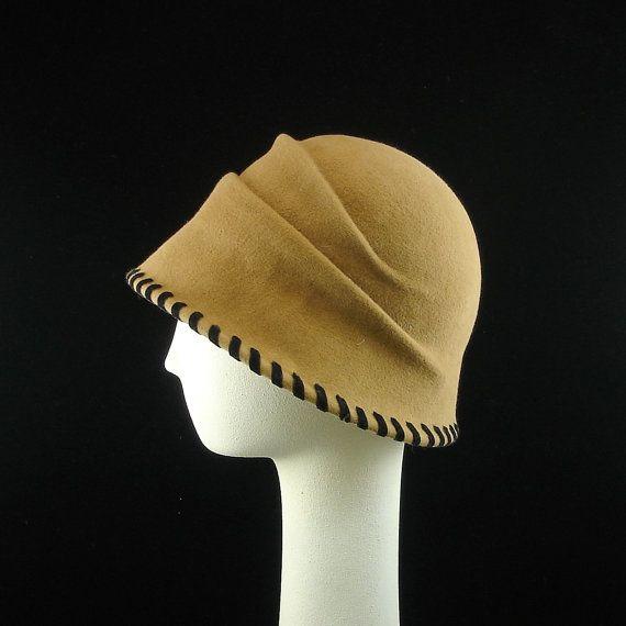 cb1f5c7e9dee2 Cloche 1920s vintage style women s hat. Fur Felt in Tan with Black Velvet  Ribbon Lacing.