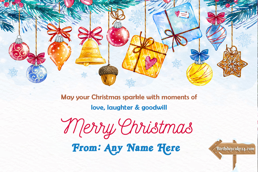 Christmas Greeting Card With Colorful Gift Box With Name Edit Merry Christmas Card Greetings Christmas Greetings Christmas Greeting Cards