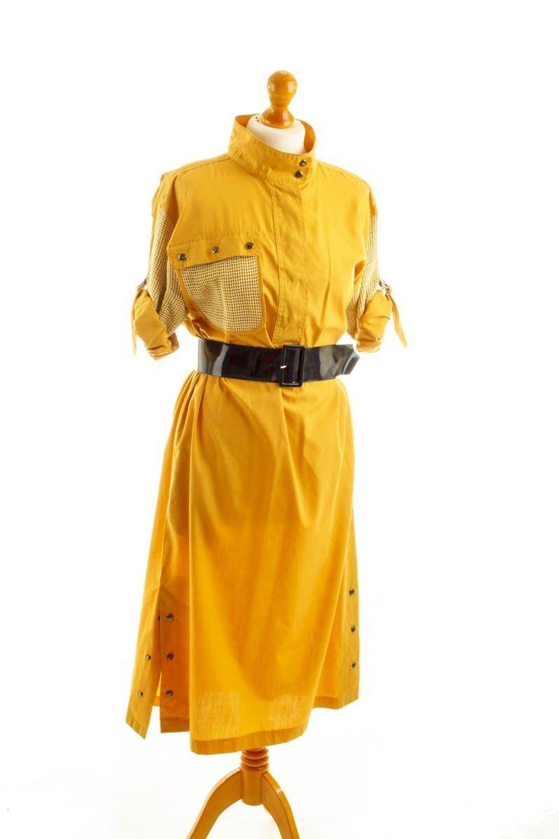 Vintage orig 80er BETTY BARCLAY Kleid gelb senf Netz Boho ...