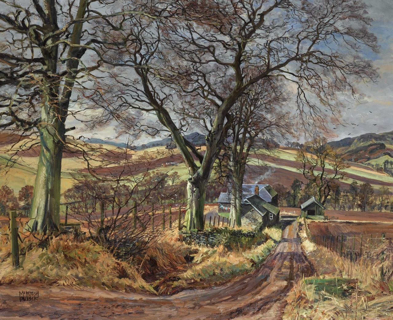 James McIntosh Patrick (1907-1998) - Wellbank, Rossie Priory. Oil on canvas, 63.5 x 66 cm.