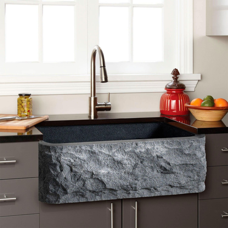 Polished granite farmhouse sink chiseled front kitchen