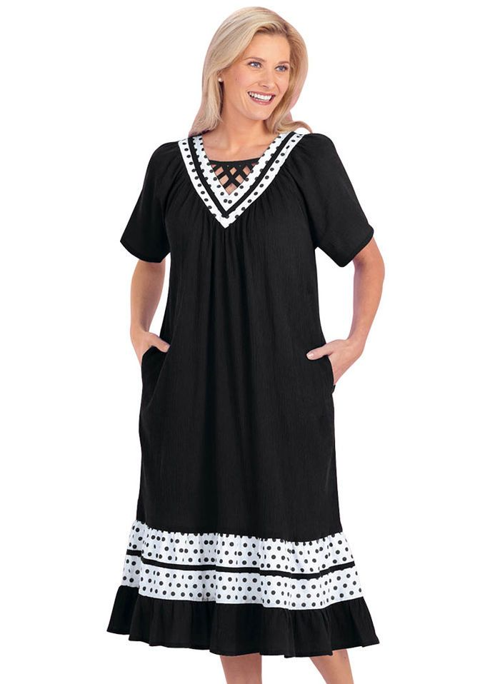 Amazing Cotton Gauze Patio Dress: Dot Trim Patio Dress With Crisscross Lattice  Neckline And Side Seam Pockets. Approx Lengths: Misses   Womenu0027s