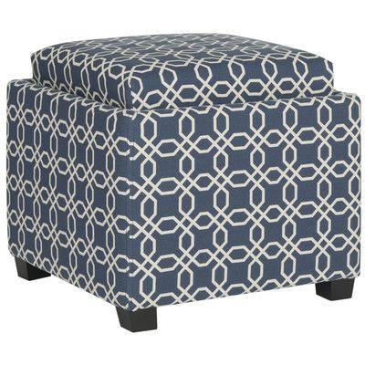 House of Hampton Spacey Single Tray Storage Ottoman Upholstery: Navy
