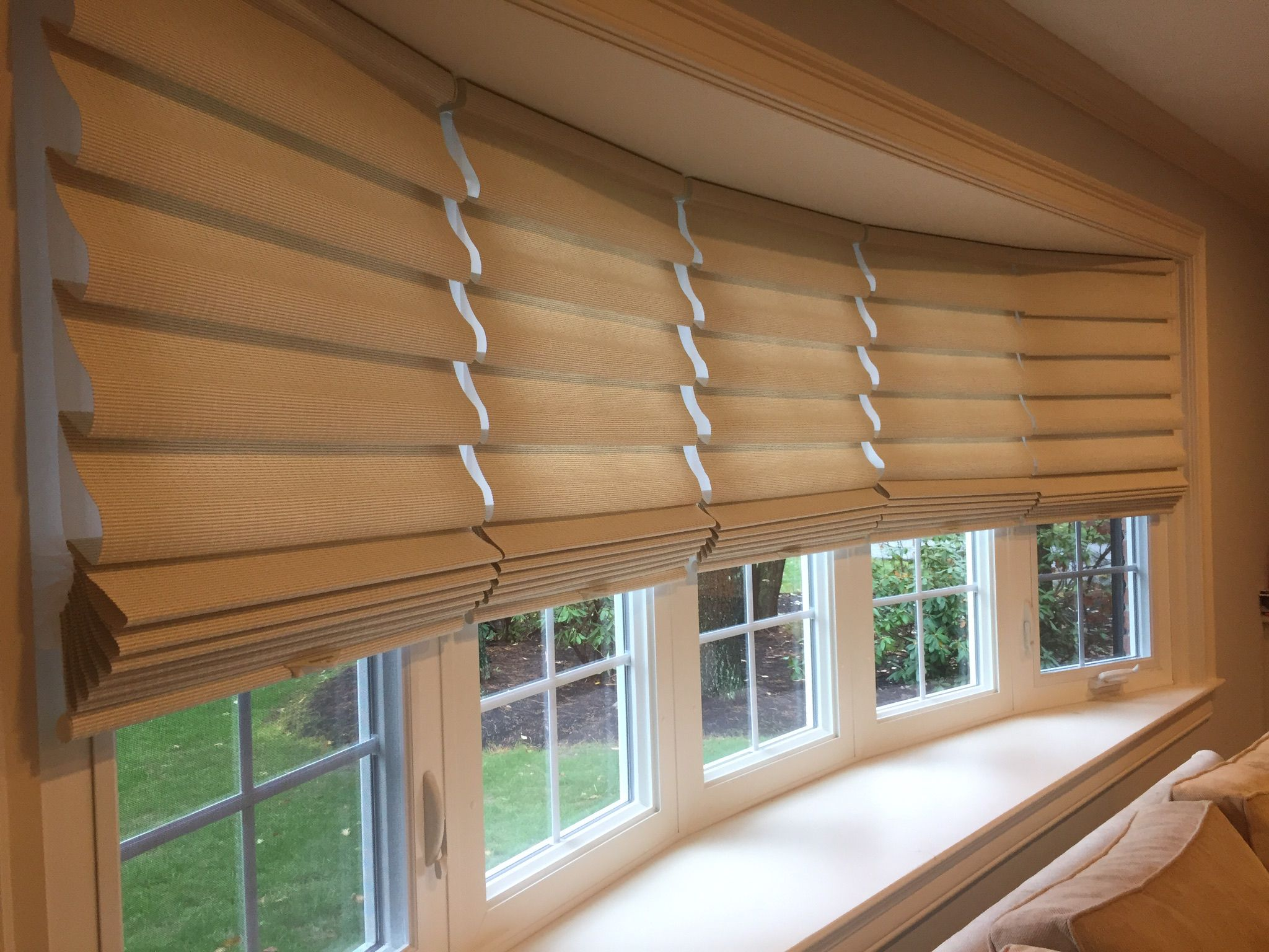 Close Up View Of Hunter Douglas Vignette Window Shades Installed In Medfield Ma Available In Various Fold Size Custom Blinds Window Treatments Window Shades
