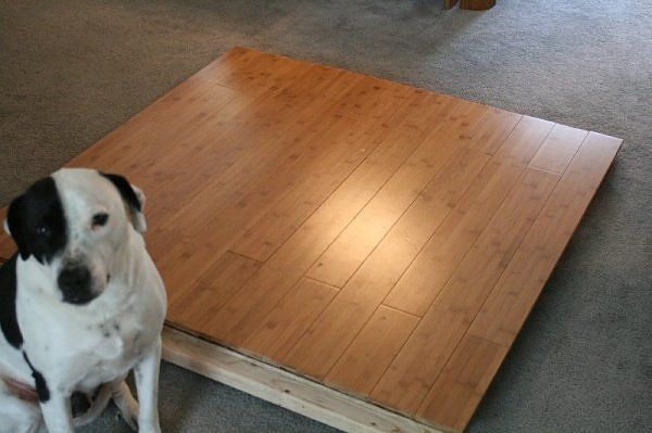 diy portable dance floor - I can do this. Would need plywood, hard wood floor laminate, door hinges and crown moulding.