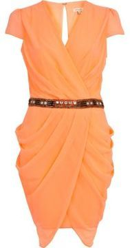 Bright coral drape sequin waist dress on shopstyle.co.uk