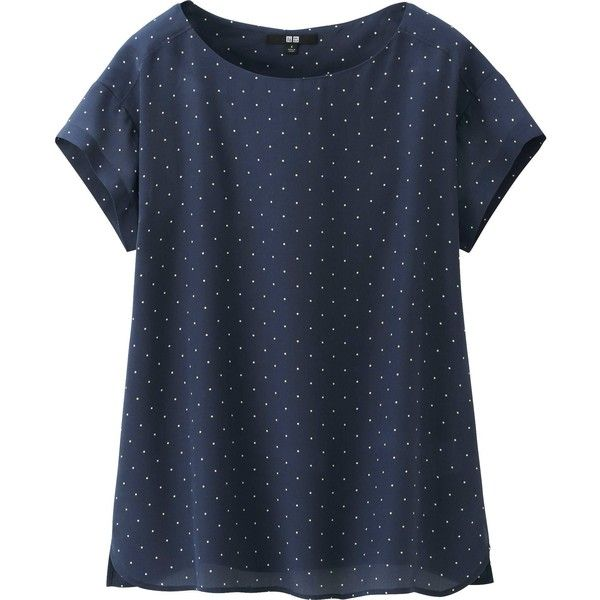 UNIQLO Women Silk Short Sleeve T Blouse (260 SEK) ❤ liked on Polyvore featuring tops, blouses, shirts, navy, short sleeve silk blouse, silk blouse, navy blue polka dot shirt, short-sleeve blouse and short sleeve blouse