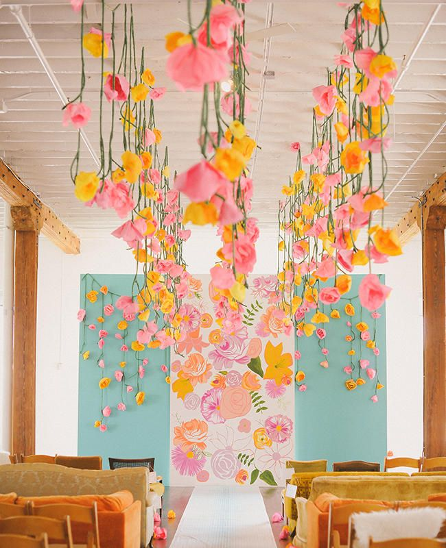 15 chic ways to use paper flowers at your wedding paper flowers hanging paper flowers june bug company blogeknot mightylinksfo