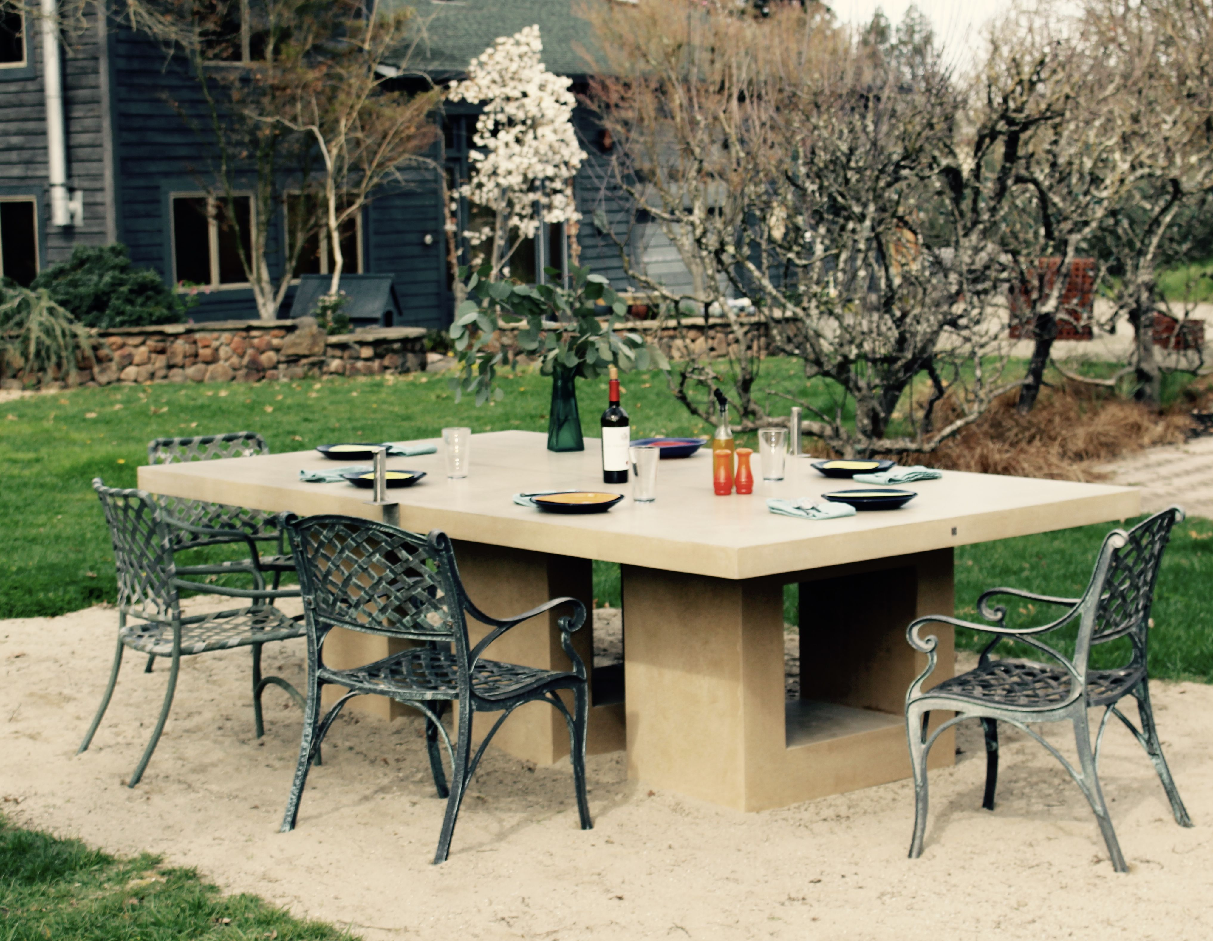 Concrete Ping Pong Table Doubles As Outdoor Dining Table Outdoor