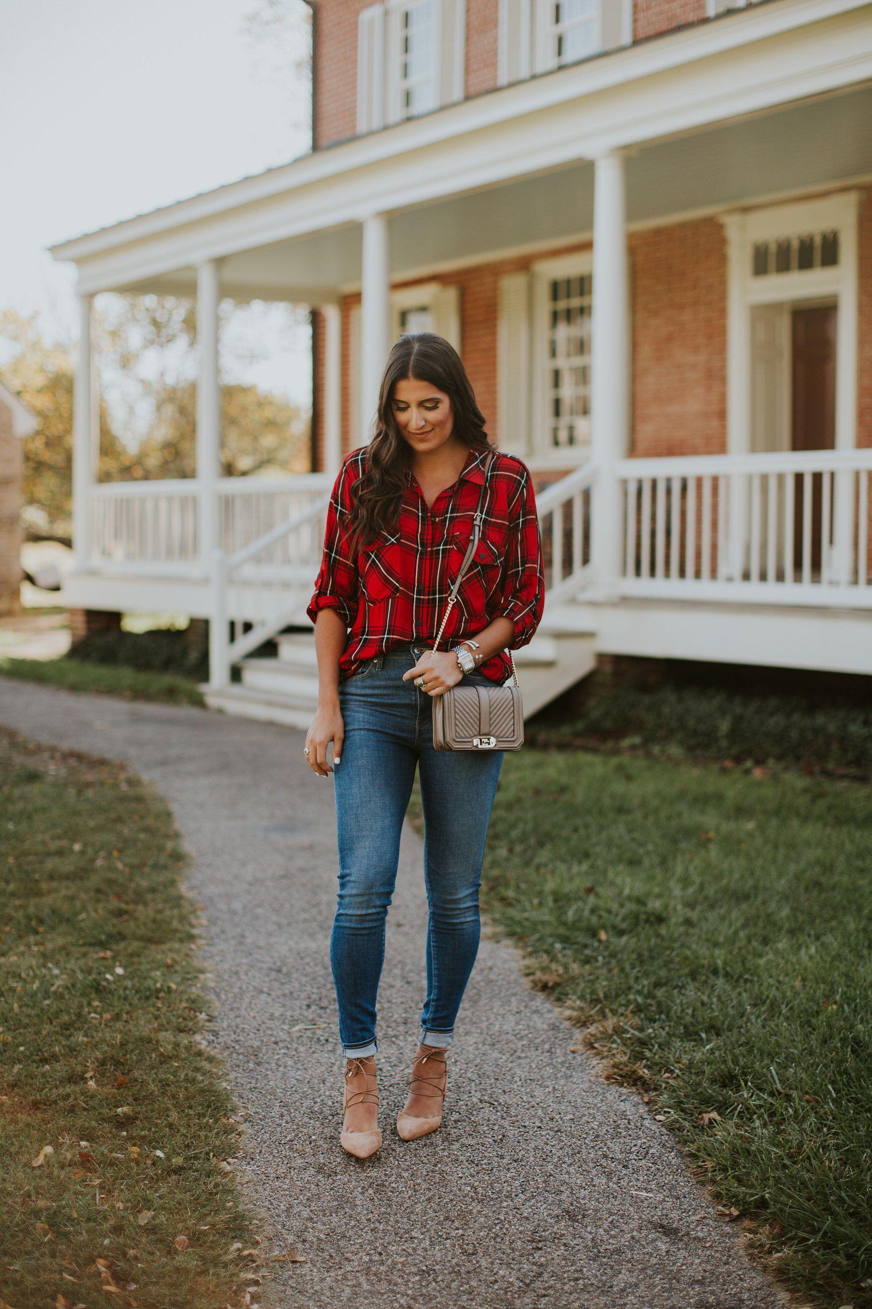 Dress up flannel shirt  Holiday Plaid Shirt  Red plaid Skinny jeans and Plaid