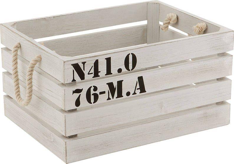 Caisse De Rangement Marina En Bois Blanc 32x24x17 5cm Sur
