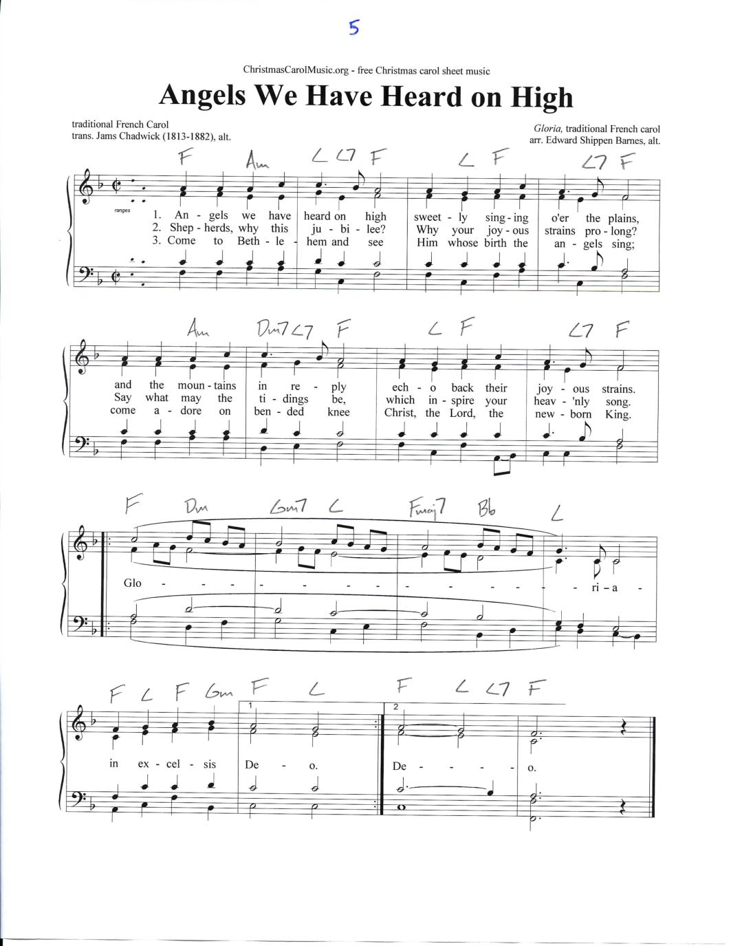 Angels we have heard on high, free printable Christmas carol   Christmas sheet music, Christmas ...