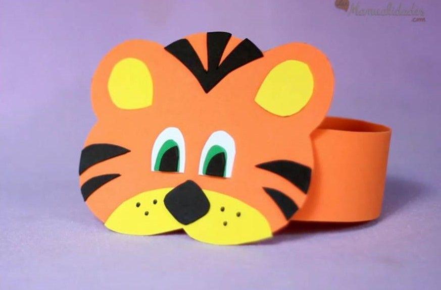 Como hacer un tigre de goma eva realizando manualidades para nios