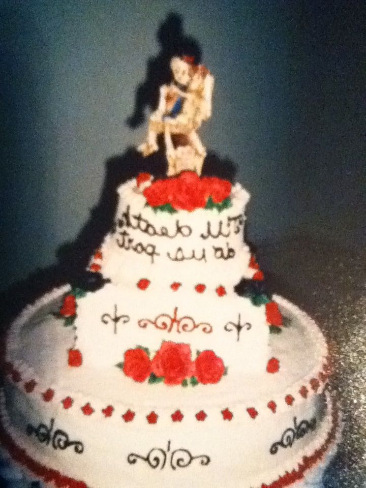"top of ""till death"" wedding cake"