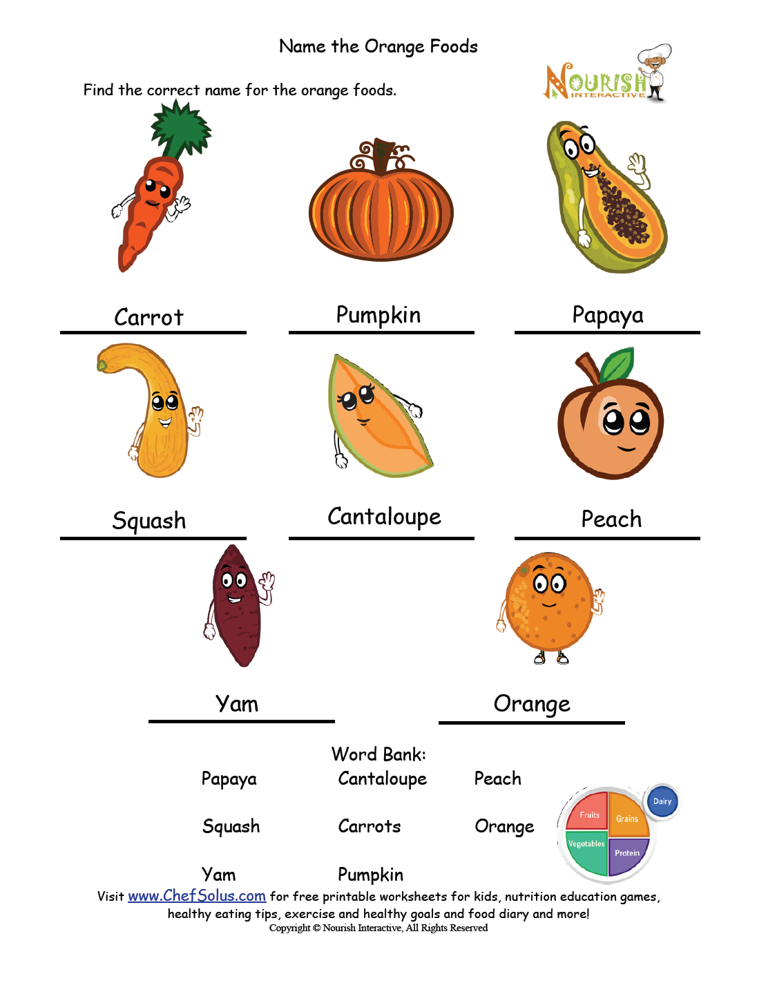 Workbooks www education com worksheets answer key : Name the Orange Answer Key | Nutrition Worksheets and Games ...