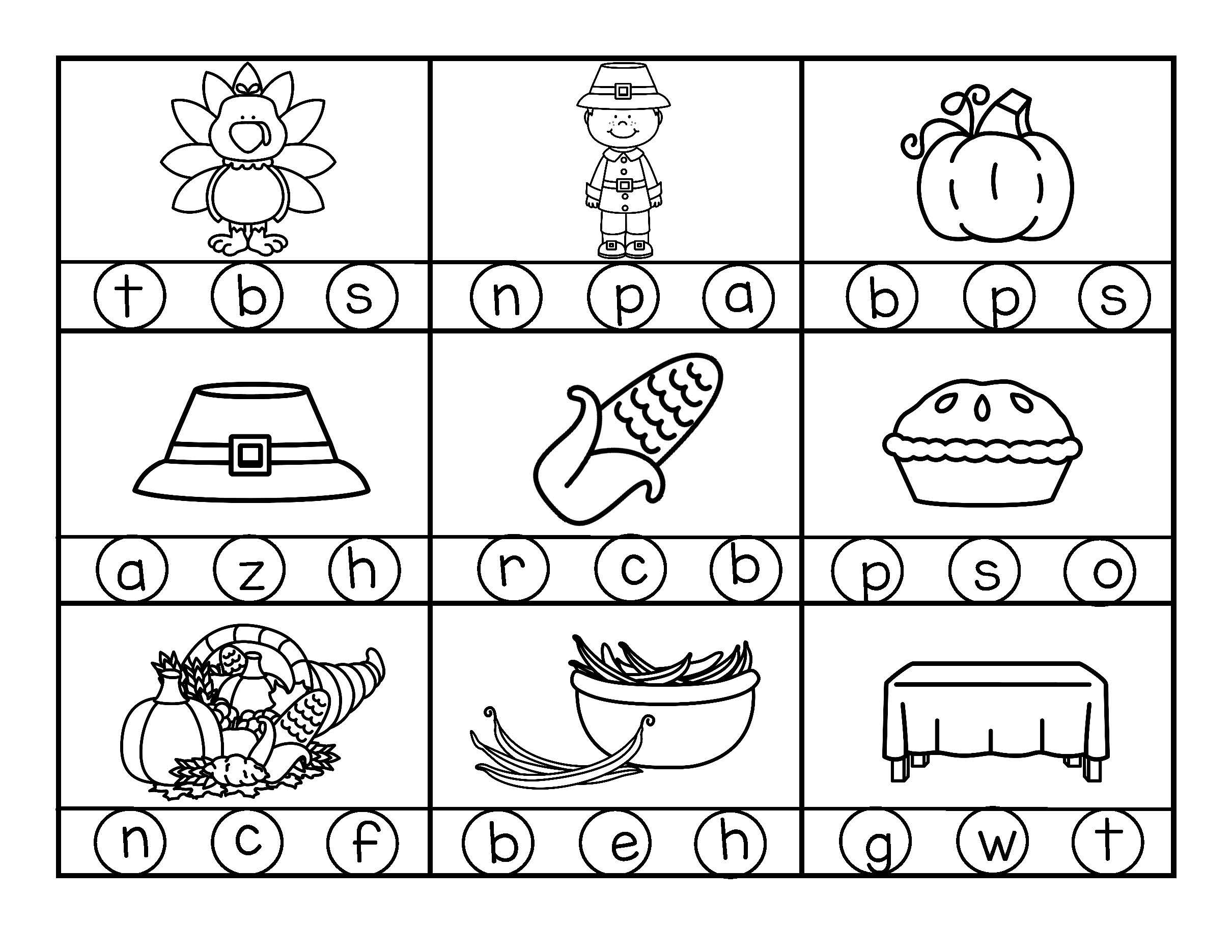 Thanksgiving Initial Beginning Sounds Stamp Or Color In B