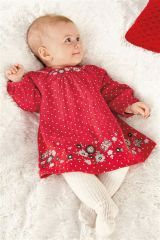 Red Embellished Dress and Tights set (0-18mths)
