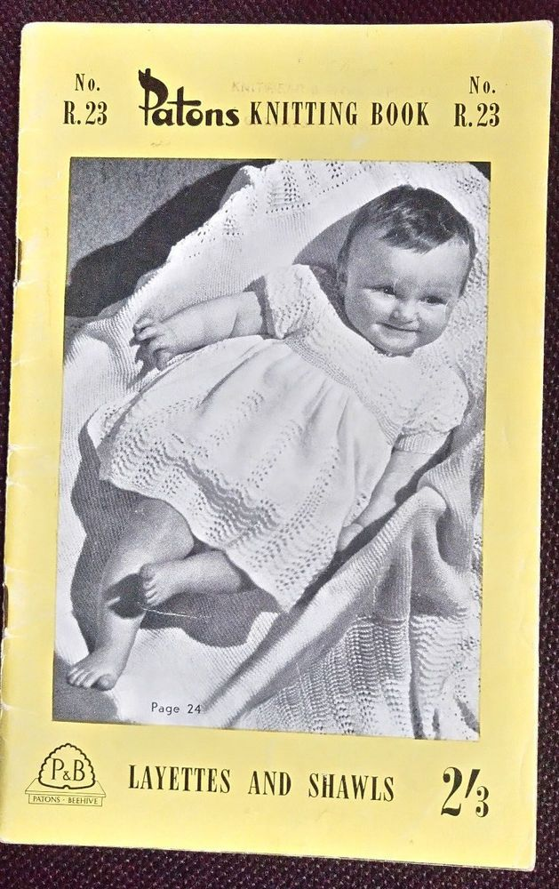 Baby Layettes Shawls Patons R23 Vintage Knitting Pattern Feather