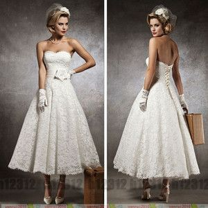 NEW Stock White Ivory Vinatge TEA Length Lace Wedding Dress Size 6 8 10 12 14 16 | eBay