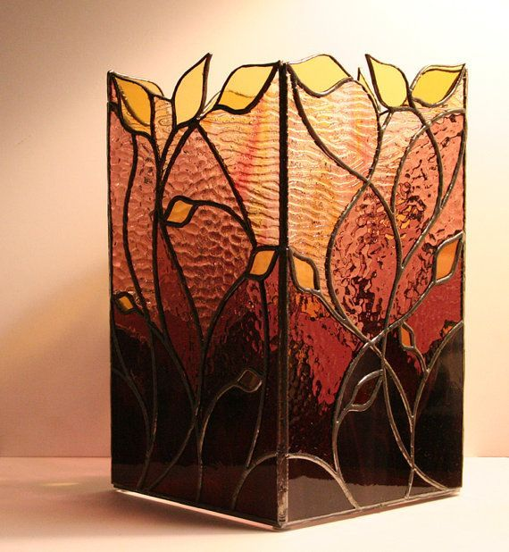 Large Stained Glass Candle Box Vine Motif in by FormInFlux ...